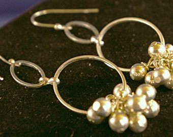 Silver Drop with Silver Bead Cluster Earrings