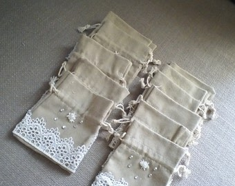 Wedding Sachets Lace & Beads Favor Bags Gift Bags Set of 12