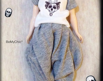 Blythe Pullip Dal Doll Handmade Dress Gothic Print Tshirt and Halem Pants in Grey