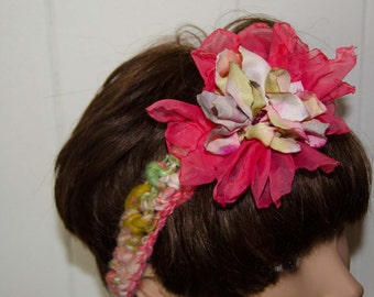 """Coral and Green Head Band with  Silky Flower  -Crochet Hair Wrap out of Hand Spun Art Yarn Measures 21"""" but Adjustable"""