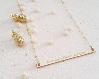 Skinny Bar Stamped Necklace