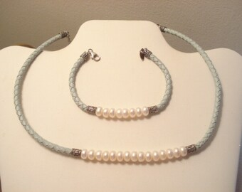 Exceptional Vintage Braided Leather And Freshwater Pearl Necklace And Bracelet Set With Sterling Findings