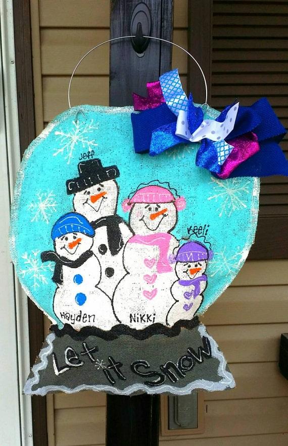 Snow Globe Family Burlap Door Hanger