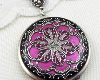 Filigree Locket, Rose Silver Filigree Flower Locket Vintage Locket Photo Locket,Valentine Gift For Her