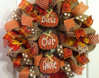 Fall Wreath/ Pumpkin Wreath/ Burlap Fall Wreath/ Thanksgiving Wreath