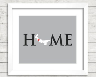 8x10 Prince Edward Island Home Print - Summerside, PEI - Eastern Canada - Home Is Where The Heart Is - Home State Print - Customizable