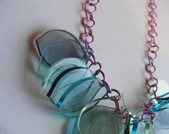 Glass, Blue Petal Necklace - Laser cut Acrylic