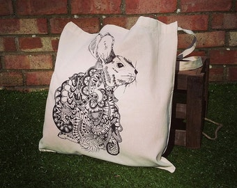 Alice in wonderland, Henna style, pattern illustration, hand screen printed tote bag - Rabbit Totes