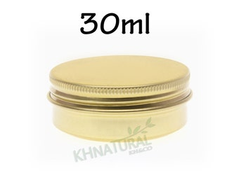 Empty Tin Cosmetic Pots Jar Box Containers Aluminium Gold 30ml