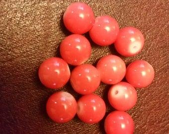 Orange Sherbet Glass Beads - 15 pieces