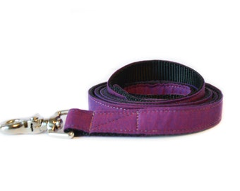 Purple Chambray Dog Leash - Indigo Purple Denim Dog Lead for Weddings and Everyday Wear