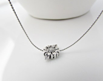 SunFlower Necklace, Sunflower Jewelry, Silver Necklace, Bridesmaid Gifts, Flower Necklace, Bridesmaid Necklace, British Seller UK, For Mom