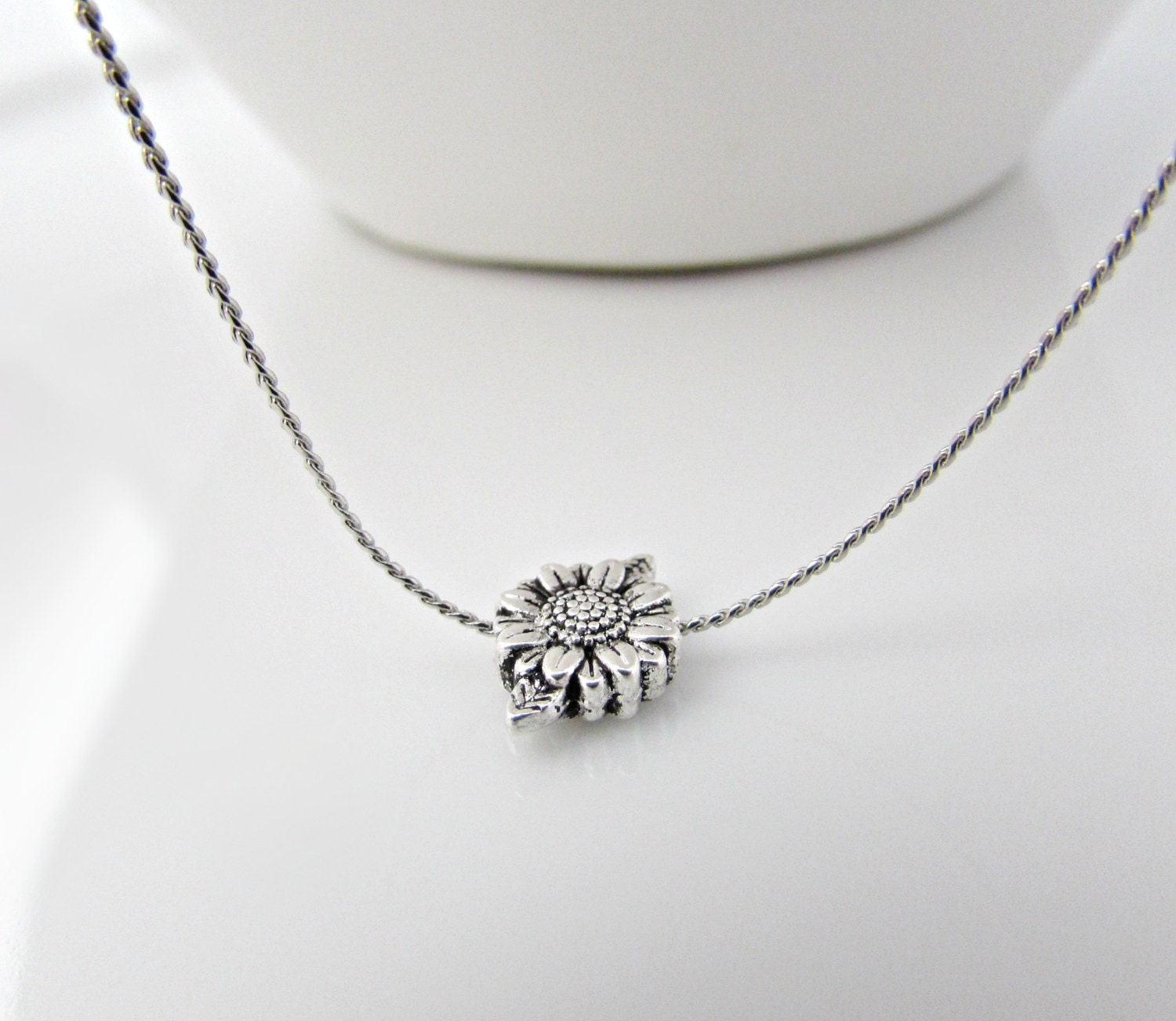 sunflower necklace sunflower jewellery silver necklace
