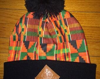 Pom Pom Kente Beanie Hat