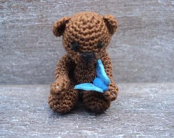 Dollhouse miniature crochet bear with butterfly micro scale