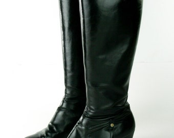 Vintage Salvatore Ferragamo Black Genuine Leather Knee High Riding Boots - Wonderful Condition - Made in Italy - Women's Size 8.5 Medium