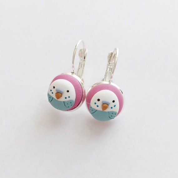 Budgie drop earrings - beautiful handmade earrings by Clay and Clasp polymer clay jewellery
