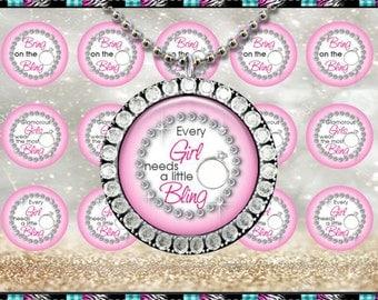 """Bring On The Bling Pink 2402 - INSTANT DIGITAL DOWNLOAD - 1"""" Bottlecap Craft Images (4x6) Digital Collage Sheet"""
