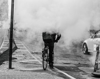 Headless Rider, NYC Black and White Street Photography Print, New York Photography