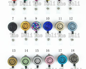 Multi Color Rhinestones ID Badge Holder RETRACTABLE Reel Swivel Spring Clip
