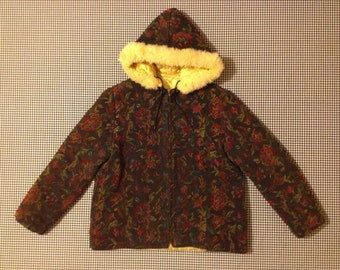 1960's, quilted, tapestry, carpet jacket, with faux fur trimmed hood and zip front, Women's size XS