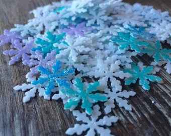 Miniature Frozen Themed Snowflakes Sprinkles on Edible Heavy Thick Wafer Paper