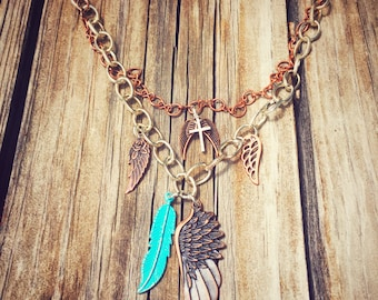Angel Wings, Blue Feather and Cross Multi-Layer Silver & Copper Chain Necklace