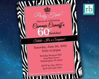 Surprise Party Invitations, Zebra Invitations, Zebra Party, Adult Birthday Invitations, 50th Birthday, 60th Birthday  - Digital Printables