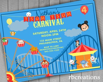 Amusement Park Invitations, Tsum Tsum Invitations, Carnival Party Invitations, Disney Carnival, Disney Park Invitation, Digital Printables