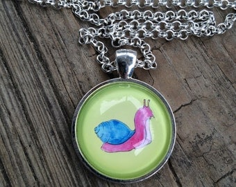 Pink Snail Glass-Domed Necklace