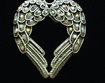 1 Piece Large Angel Wing Pendant 45x37mm With  Rhinestones Antique Silver Finish, heart angel wings, rhinestone wings 1-4-AB