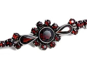 Bohemian Garnet brooch Silver Vintage Jewelry Pin