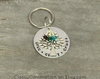 Family Tree of Life Key Chain with Name(s) and Birthstone(s)