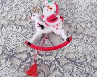 Vintage Christmas Brooch, 1960's Santa, Reindeer Brooch, Pin, Articulated, Movable Plastic Santa Brooch, NOS, 1960s Christmas Jewelry
