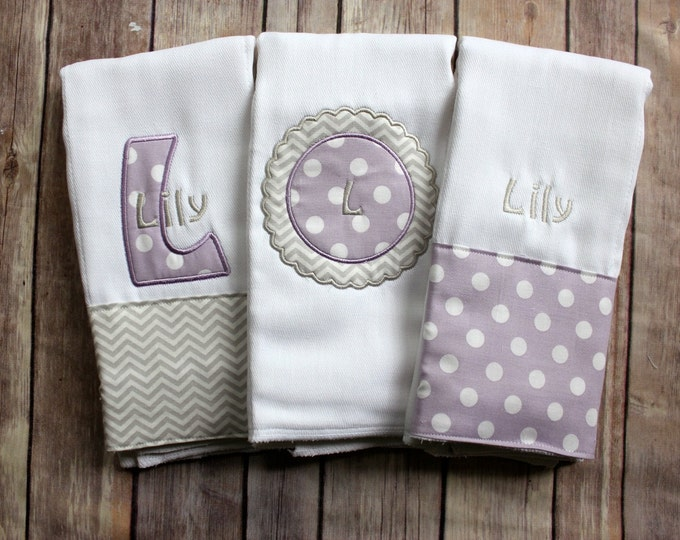 Baby Girl Burp Cloth Set, Purple Burp Cloth, Purple Grey Burp Cloth, Baby Shower Gift, New Baby Gift, Personalized Girl, Monogrammed Baby