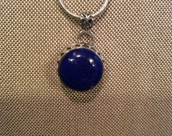 Lapis Gemstone Pendant Necklace in Sterling Silver Design 18""