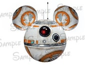 BB8 (Star Wars) Character inspired Mouse head ears DIGITAL printable file DIY