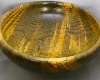 Hand turned salad bowl of spalted ponderosa pine. This piece came from a tree killed by bark beetle.