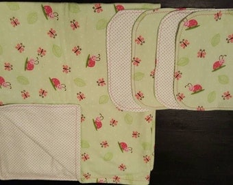 Cozy flannel blanket, pink and green lady bugs, green polkadot, baby blanket, matching burp cloths