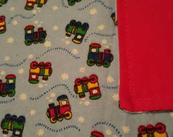 Cozy flannel baby blanket, baby trains, red flannel blanket