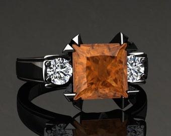Citrine Engagement Ring Princess Cut Citrine Ring 14k or 18k Black Gold Matching Wedding Band Available SW16CITRBK