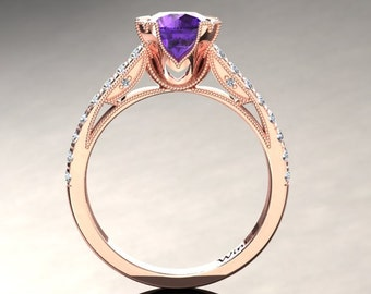 Amethyst Engagement Ring Amethyst Ring 14k or 18k Rose Gold Matching Wedding Band Available W11PUR