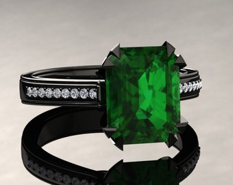 Emerald Engagement Ring Emerald Cut Emerald Ring 14k or 18k Black Gold Matching Wedding Band Available W13GBK