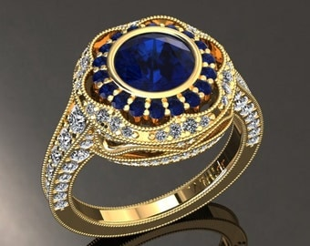 Blue Sapphire Engagement Ring Blue Sapphire Ring 14k or 18k Yellow Gold W33BUY