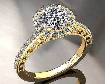 Forever One Moissanite Ring 1.00 Carat Moissanite And Diamond Halo Engagement Ring 14k or 18k Yellow Gold W5MOISY
