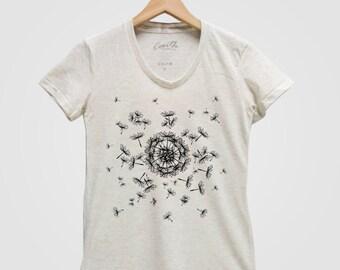 DANDELION Shirt Women Custom Hand Screen Print Tri-Blend Short Sleeve Tshirt Available: S, M, L, XL Fying Seed
