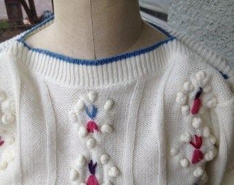 80's 90's Girls' Sweater Size 10 Adorable Pom Pom Flowers