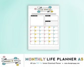 Monthly Life Printable Planner - A5 PDF file