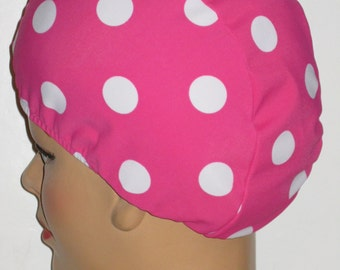 Hot Pink with White Dots  Cloth Swim Cap