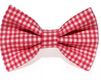 Red gingham dog bow tie & cat bow tie